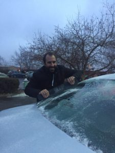 Boulder, Colorado scraping ice off the windscreen